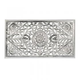 Διακοσμητικό τοίχου ξύλινο λευκό-ασημί 85x3x30 cm